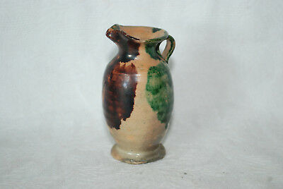 Vintage Hand Painted  Miniature Clay Pottery Pitcher Mexico Tan/green/purple