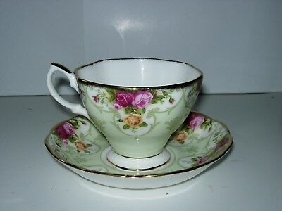Royal Albert Old Country Roses Rose Cameo Green Tea Cup and Saucer Set   NEW