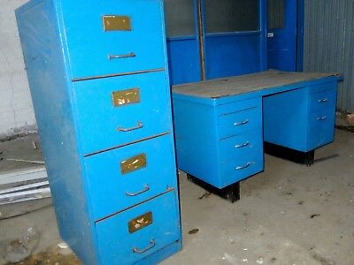 Vintage Industrial Metal Office Desk, Cabinet, manager Chair. Project