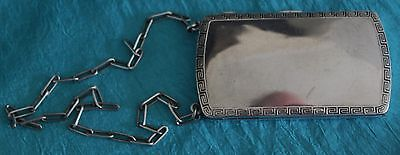 Sterling Silver Compact With Chain Gold Wash Inside England ca. 1921 No Monos