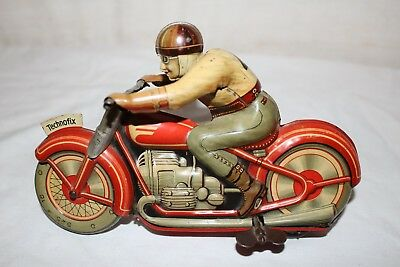 Antique Vintage 1940's Technofix Motorcycle Tin Litho Wind Up Toy~Works