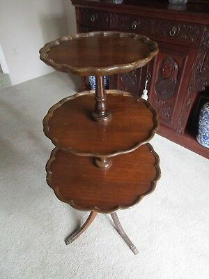 Vintage Duncan Phyfe Style 3-Tier Mahogany Hollands House Pie-Crust Table
