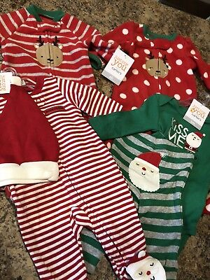 4 New Born/ 3 Month Christmas Baby Sleepers