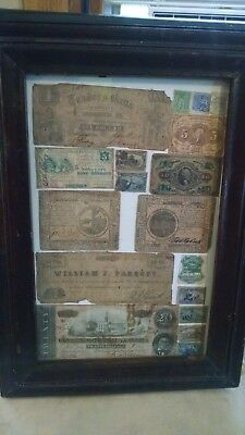 Very Early Framed Currency And Stamps, Confederates, Obsoletes, Colonial, Ect.