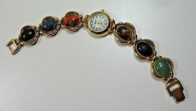 "Vintage ""Lafayette"" Scarab Gemstone Watch 7"" Jade, Onyx,Tiger Eye and Lapis"
