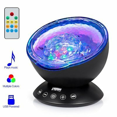 Projector Night Light Lamp Built in Music Player Baby Remote Control Ocean Wave