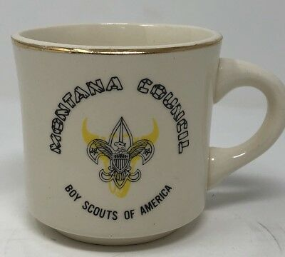Vintage Boy Scouts Of America Montana Council Ceramic Coffee Mug Made In USA