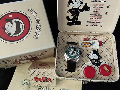 Vtg FELIX THE CAT Fossil Limited Edition Mood Watch, Felix Tin, Pull Toy, WORKS