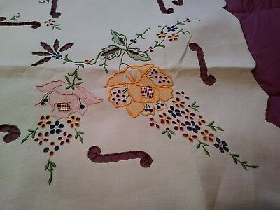 """Brightly Colored Madeira Embroidered Linen Tablecloth 42"""" by 40"""""""