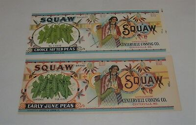 2 Vintage Squaw Brand Vegetable Can Labels New Old Stock Unused Peas