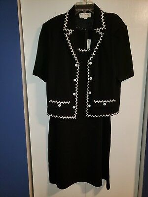 St. John Collection by Marie Gray Dress Suit Black White Jacket Size 14 2pc