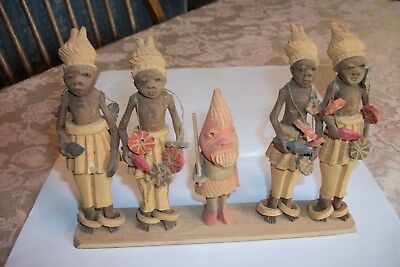 "Vintage Nigerian Thorn Wood Carved African Tribal Figures [5] on 8"" Wood Base"
