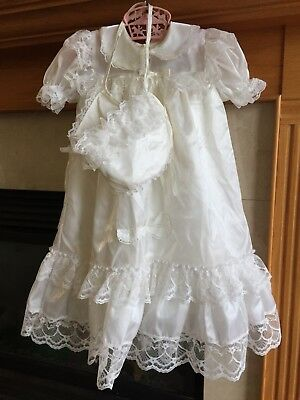 Vintage Baby Christening Baptism Dress & Bonnet Frilly Ruffles & Lace USA Made