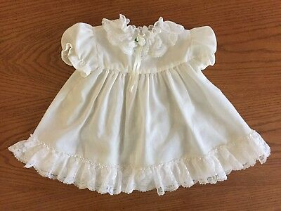 VTG Baby Girl Toddler White Ruffle & Lace Dress Toddle Time 6-9 Month USA Made