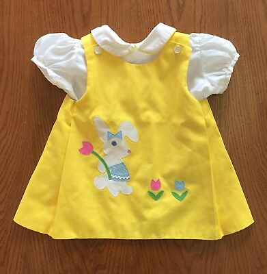 VTG Chocolate Soup Toddler Girls Mod Shift Dress Yellow Easter Bunny Pinafore 3T