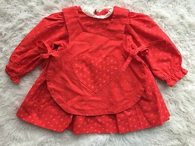 VTG 1970's Handmade Baby Girl Toddler Holiday Dress & Heart Pinafore Size 2T