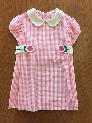 VTG Florence Eiseman Dayton's Toddler Girl's Pink Gingham Mod Shift Dress 3T-4T