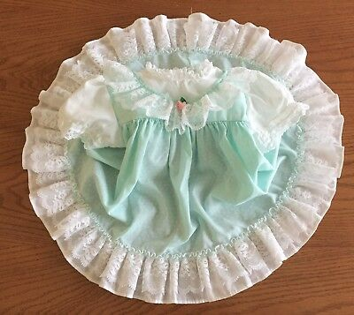 Vintage Baby Girl Dress Pastel Aqua Green Ruffles & Lace Size 9-12 Months
