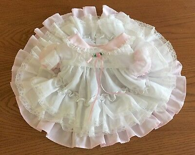 VTG Baby Girl Dress Pastel Pink Ruffles & Lace w/Diaper Cover 3 Month Reborn