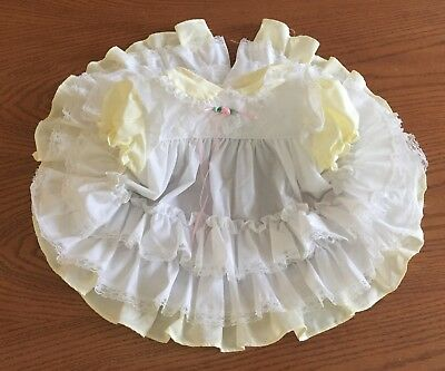 VTG Little Precious Baby Girl Dress Pastel Yellow Ruffles & Lace Size 9 Month
