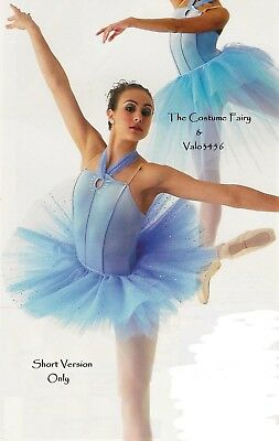 Intermezzo Dance Costume Blue Glitter Six Row Short Ballet Tutu Adult Large New