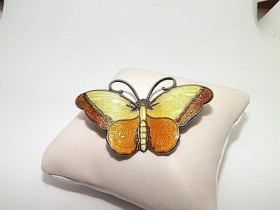 Hroar Prydz Norway Sterling Silver Yellow & Brown Enamel Butterfly Brooch Pin