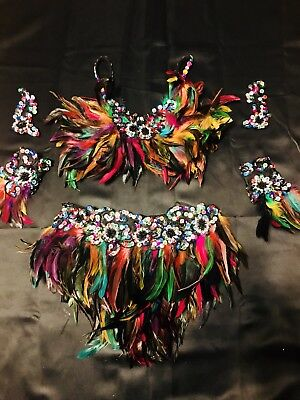 Black & Multi-colored 2-piece Feather Jazz Dance Costume Womens Small - Glamour