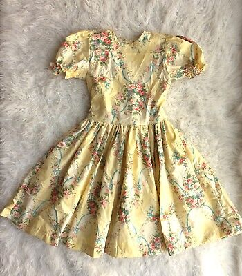 Vintage Handmade Girl's Twirl Dress Lemon Yellow Spring Flower Garden Tea Party