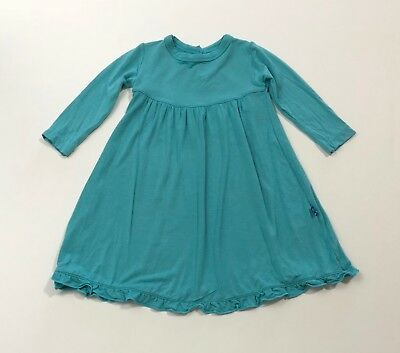 KICKEE PANTS Basic Classic Long Sleeve Dress Teal Blue Size 6-12 Months