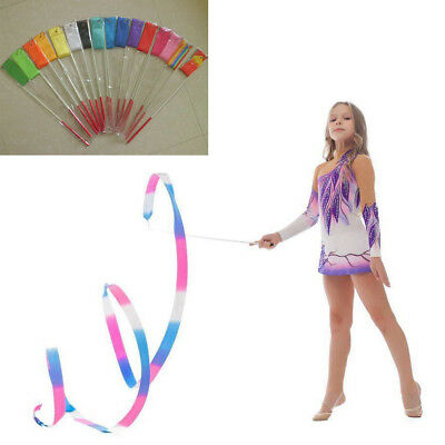 2/4M Dance Ballet Ribbon Gym Rhythmic Art Gymnastic Streamer Twirling Rod Color