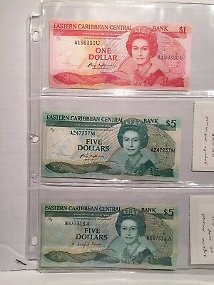 LOT OF 3 EASTERN CARIBBEAN STATES 1-$1 and 2-$5 BANKNOTES  1986-1989 UNC