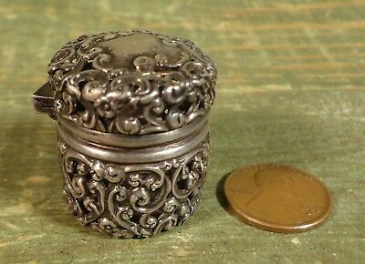 Antique Chatelaine Sterling Sewing Thimble Holder Pierced Case, Unger Bros.