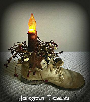 Primitive Battery Operated Candlestick & Berries in Vintage Baby Shoe!