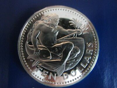 1975 Barbados 10 Dollar Proof Coin -Sterling Silver -ASW 1.2728 troy ozs - COA