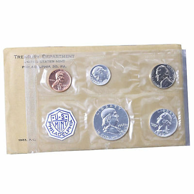 1963 US Proof Set ~ Gem Proof ~ 5 Coins W/ Mint Packing ~ 90% Silver.
