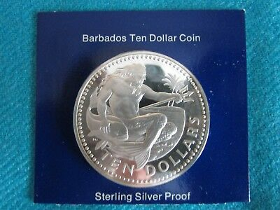 1974 Barbados 10 Dollar Proof Coin -Sterling Silver - ASW 1.1271 troy ozs