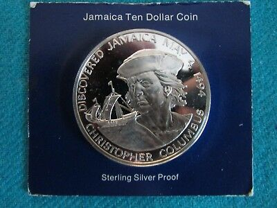 1975 Jamaica 10 Dollar Proof Coin -Sterling Silver -ASW 1.2728 troy ozs - COA