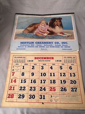 Vintage Mufflin Creamery Co. Advertising Calendar 1958