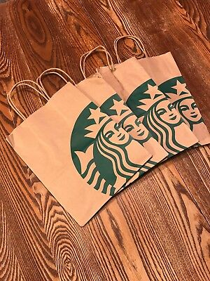 (10x) Starbucks Reusable Brown Paper (Assortment of Designs) Bags W/ Handles