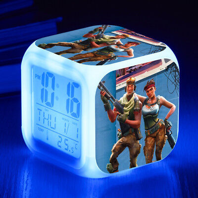 Fortnite Alarm Clock LED 7 Color Change Decor Night light Cosplay Xmas Gift