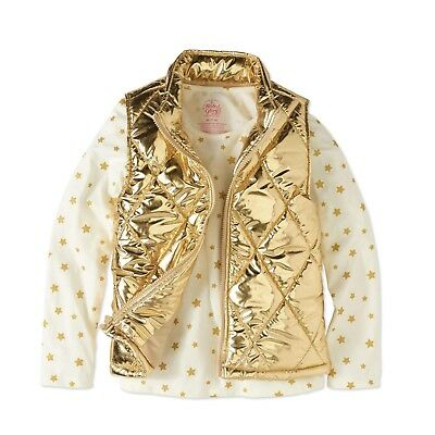 Faded Glory Girls Foil Puffer Vest & Long Sleeve Shirt Size Large 10-12 GOLD