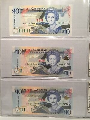 Lot Of 3-$10 Eastern Caribbean Territories Banknotes UNC 1994