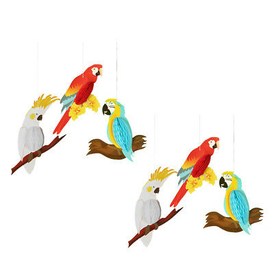 6pcs Funny Rainbow Hanging Paper Parrot Children Room Birds On Swing Decor