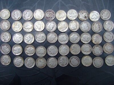 1 Roll of 90% Silver Roosevelt Dimes 1964 and Older