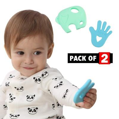 Camstar 2 Pack Silicone Teething Toy Set For Baby Boy & Girl - Organic BPA Free