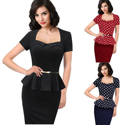 Plus Size S-4XL Womens Elegant OL Short Sleeve Square Neck  Peplum Pencil Dress