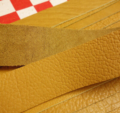 "HORWEEN 6 OZ. MUSTARD SEED BISON LEATHER STRAP, 34"" x 1.25"" NAT. QLTY."