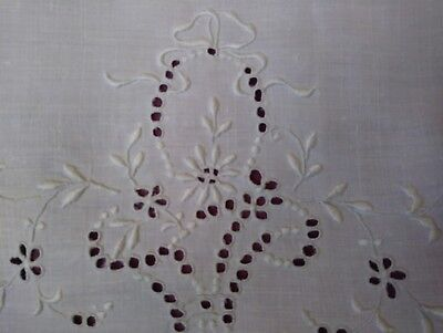 """Pretty White Madeira Embroidered and Cutwork 14"""" Linen Doilie"""