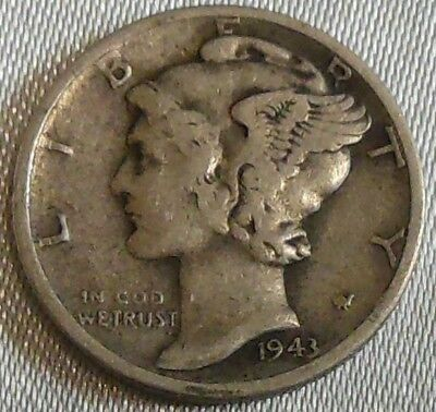 WW2 United States 1943d Mercury Dime US 10 Cents Silver Coin WWII