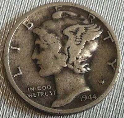 WW2 United States 1944d Mercury Dime US 10 Cents Silver Coin WWII
